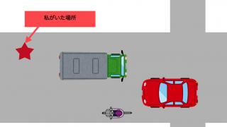 こうすると自転車事故に遭います、その2:車の死角に入る