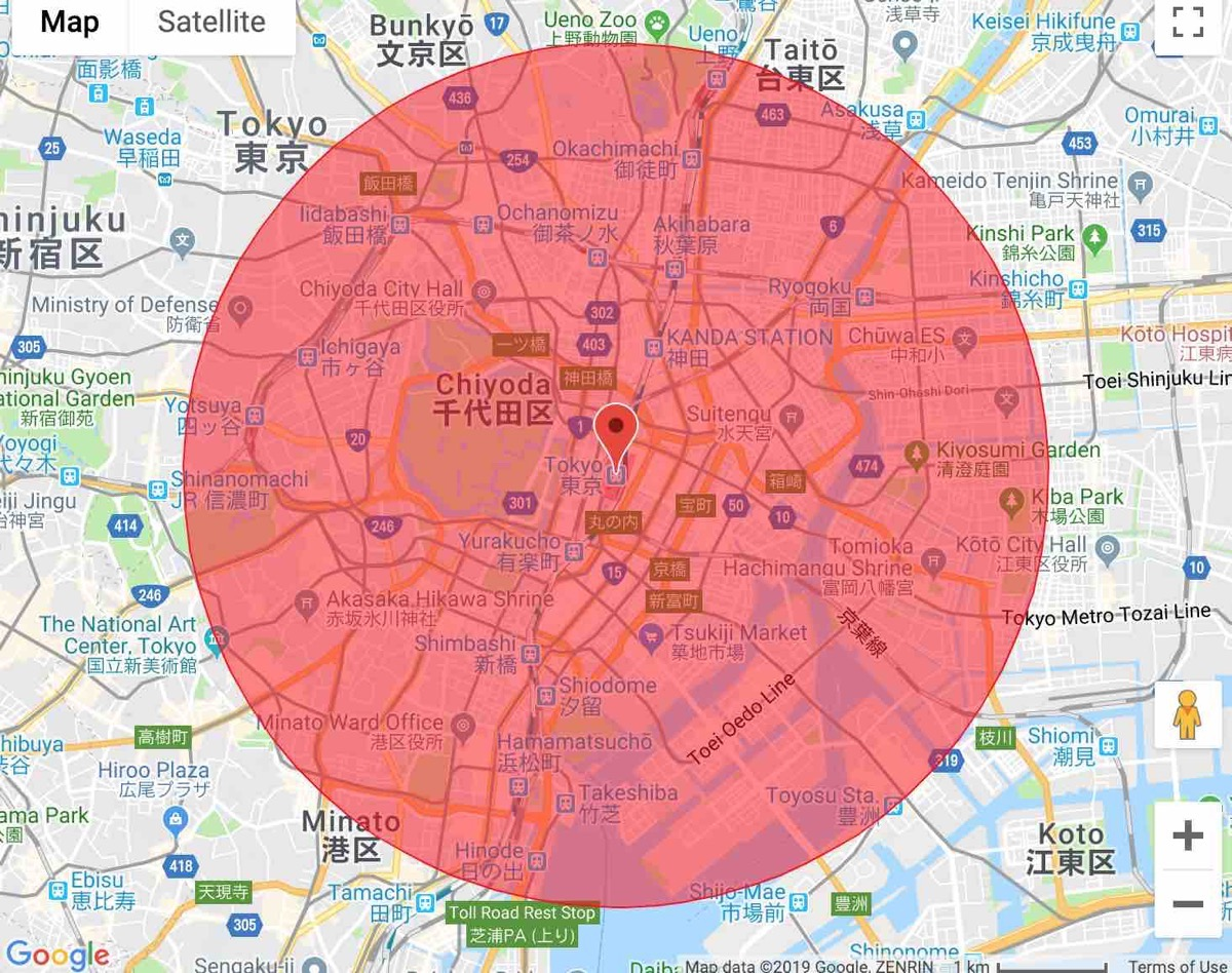 4km radius around tokyo station