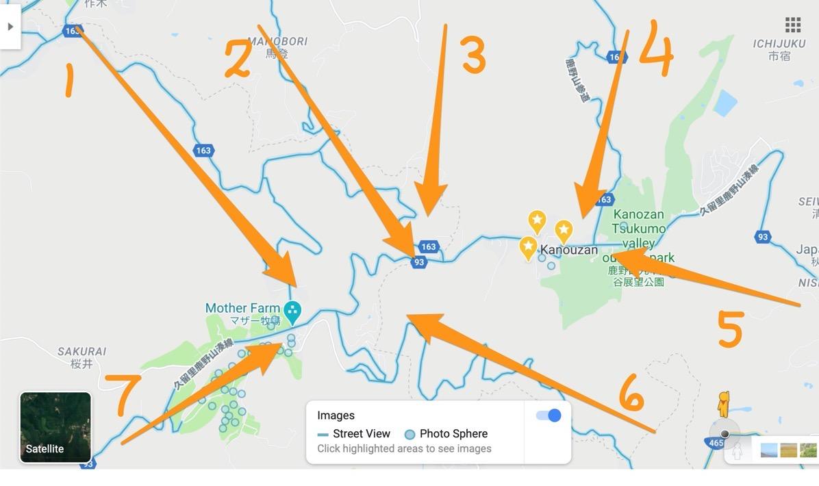 Kanozan routes